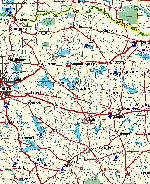 Map of Northeast Texas