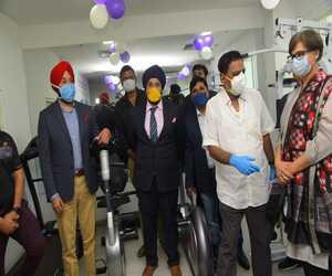 Dr Sandeep Singh with Naba Kishore Das, (health and family welfare minister), Dilip Tirkey, (former MP and Padamshree), Debashish Mohanty, (BCCI selector), Jasdeep Singh, (Group CEO of Care Hospitals), Gurrit Kaur, (COO, care Hospital)