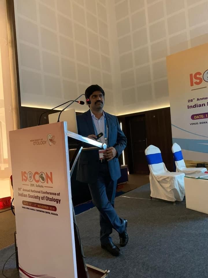 Dr Pradeep Vundavalli speaking at 28th annual national conference of Indian society of otology