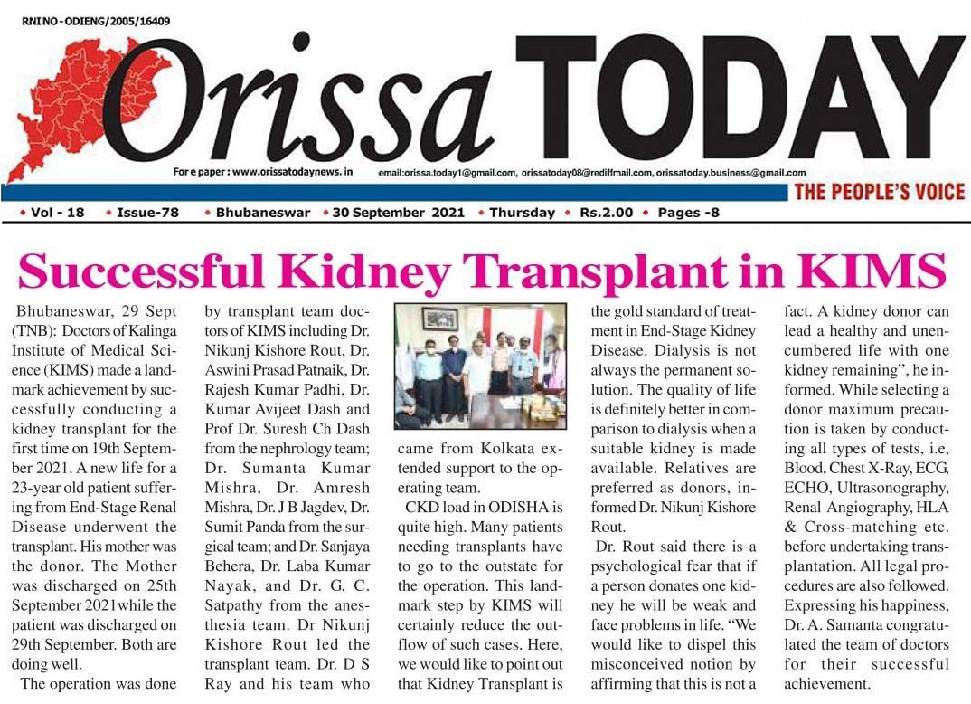Dr. Sumanta Mishra along with other team of doctors performs a successful Kidney Transplant Surgery at KIMS.