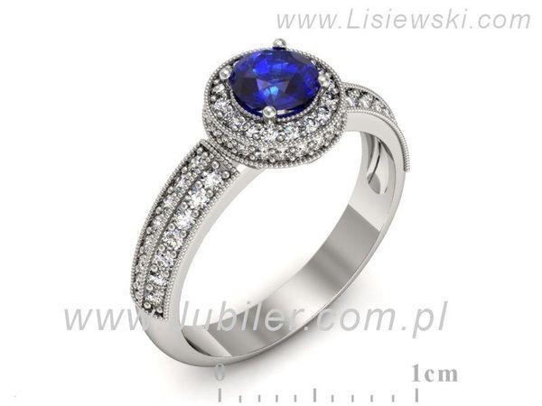 Pierścionek Zaręczynowy Szafir Diamenty P16418bszc Jubiler