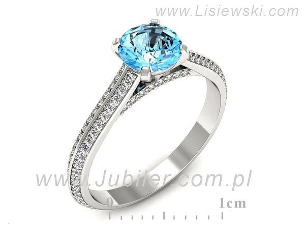 Cudowny złoty pierścionek z topazem - p16657btp - 1