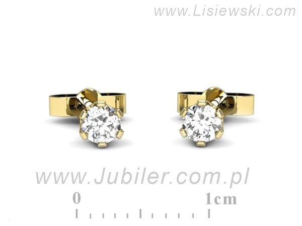 Kolczyki z żółtego złota z brylantami - 9080z - 1