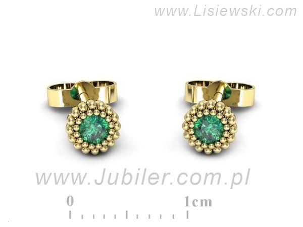 Piękne złote kolczyki ze szmaragdami - k16167zsm - 1