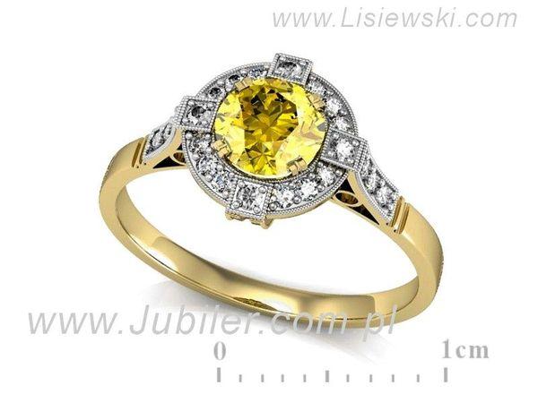 Atrakcyjny złoty pierścionek zaręczynowy z brylantami - P15098Z - 1