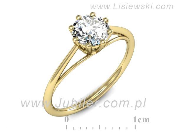 Pierścionek z żółtego złota z cyrkonią - P15533z - 1