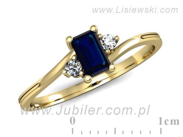 Pierścionek z żółtego złota z szafirem - p16133zsz - 1