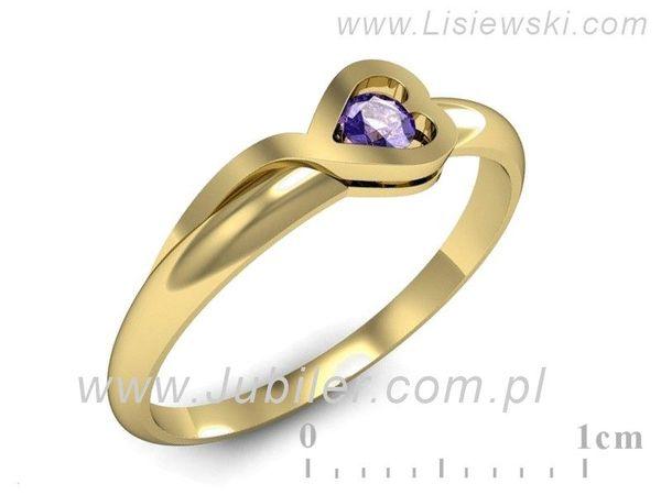 Pierścionek z żółtego złota z tanzanitem - p16179zt - 1