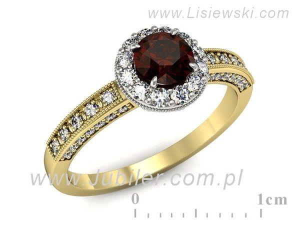 Granat Pierścionek Zaręczynowy Diamenty P16181zbgr Lisiewski