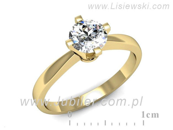 Pierścionek z żółtego złota z brylantem - 1717skW_pro - 1