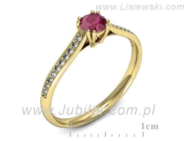 Pierścionek z żółtego złota z rubinem - p16581zr - 1