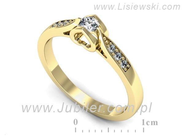 Pierścionek z żółtego złota z brylantami - p16729z - 1