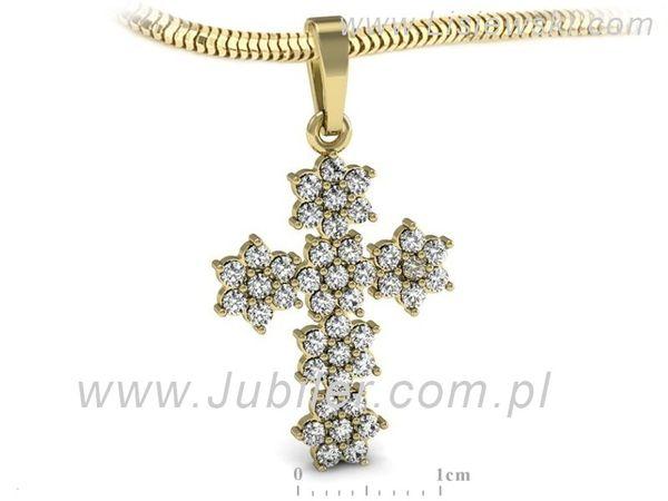 Wspaniała złota zawieszka krzyżyk z brylantami - W15416z - 1