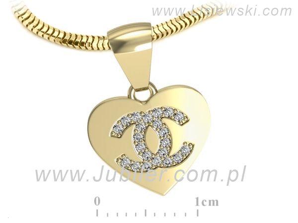 Cudowna złota zawieszka z cyrkoniami - W15568zc - 1