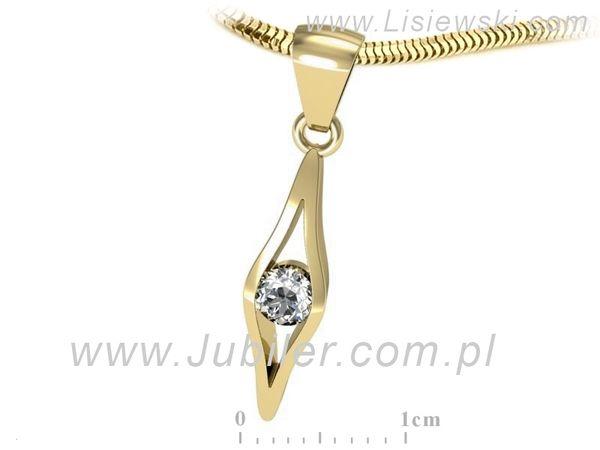 Urzekający złoty wisiorek z brylantem - w16633z - 1