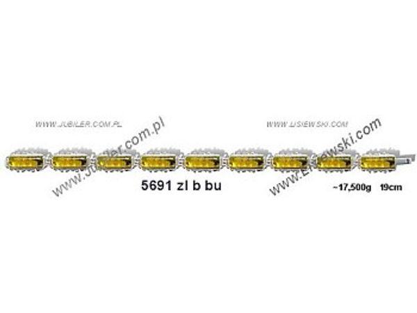 Bransoletka srebrna z bursztynem żółtym próby 925  długość 19cm - 5691zlbbu - 1