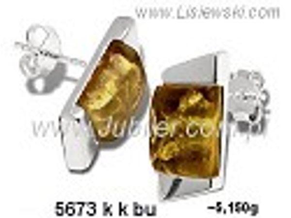 Kolczyki srebrne z bursztynem brązowym próby 925 - 5673kkbu - 1