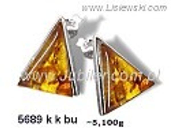 Kolczyki srebrne z bursztynem brązowym próby 925 - 5689kkbu - 1