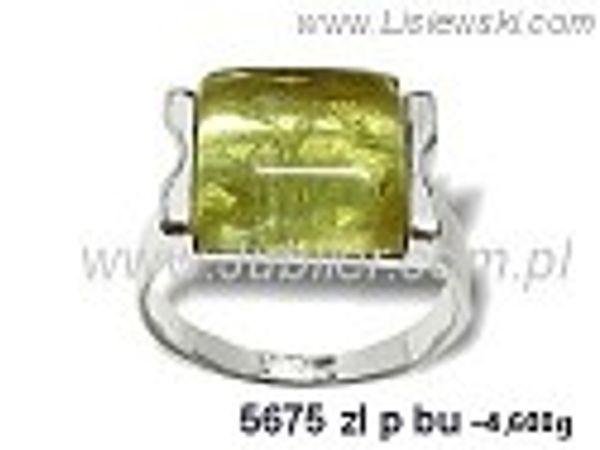 Pierścionek srebrny z bursztynem żółtym próby 925 - 5675zlpbu - 1