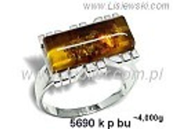 Pierścionek srebrny z bursztynem brązowym próby 925 - 5690kpbu - 1