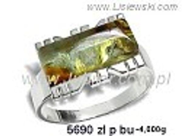 Pierścionek srebrny z bursztynem żółtym próby 925 - 5690zlpbu - 1