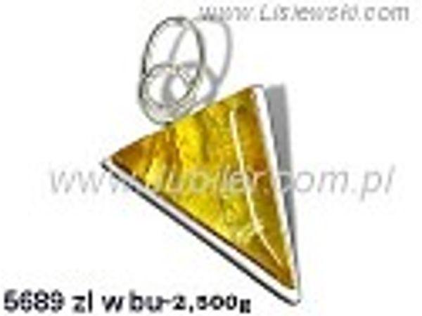 Wisiorek srebrny z bursztynem żółtym próby 925 - 5689zlwbu - 1