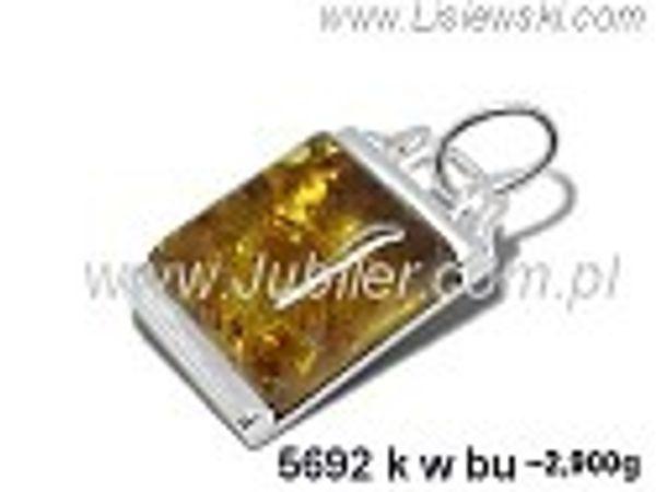 Wisiorek srebrny z bursztynem brązowym próby 925 - 5692kwbu - 1