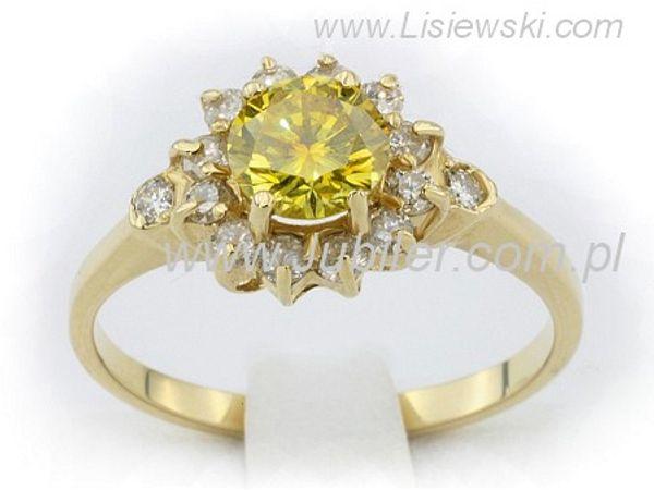 Niezwykły złoty pierścionek z brylantem - 7874lemon_p - 1