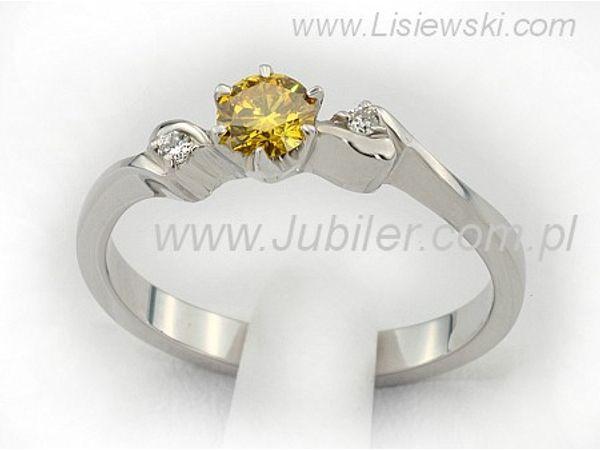 Pierścionek z białego złota z brylantem - bjg1032gold_2_75_p - 1