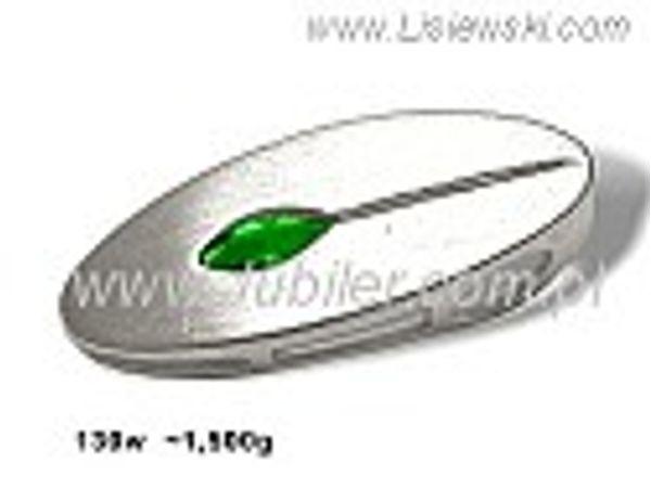 Piękny wisiorek srebrny matowany ze szmaragdem - 130w - 1