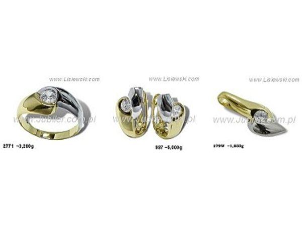 Komplet biżuterii z żółtego złota z elementami rodowanymi i cyrkoniami - 3kplau - 1