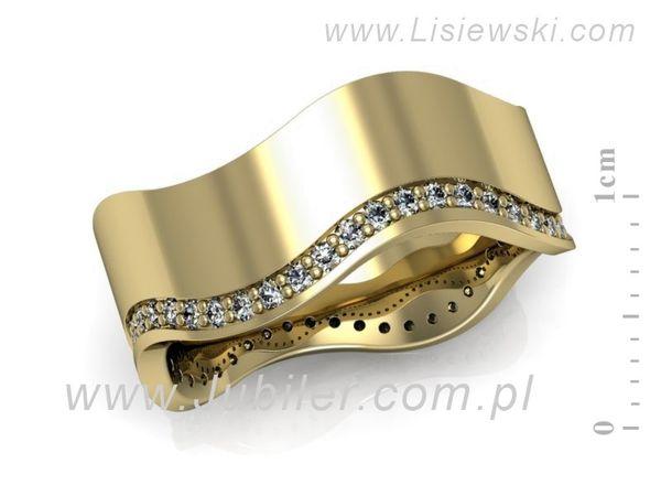 Obrączka z żółtego złota z brylantami - P84170T86z - 1
