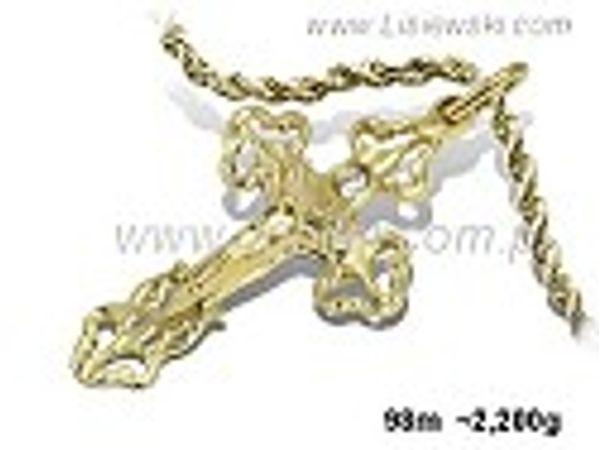 Krzyżyk z żółtego złota - 98m - 1