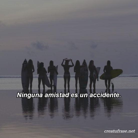Ninguna amistad es un accidente.