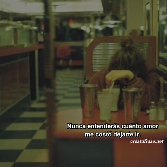 Nunca entenderás cuánto amor me costó dejarte ir.