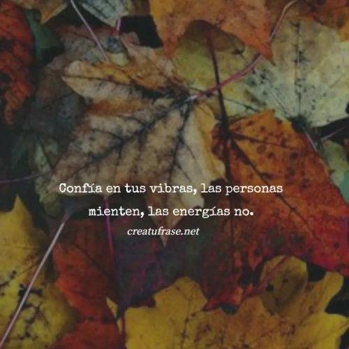Frases de Amor Propio - Confía en tus vibras, las personas mienten, las energías no.