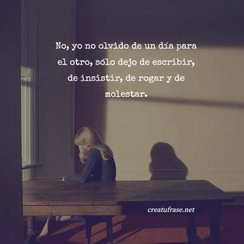 Frases de Desamor - No, yo no olvido de un día para el otro, sólo dejo de escribir, de insistir, de rogar y de molestar.