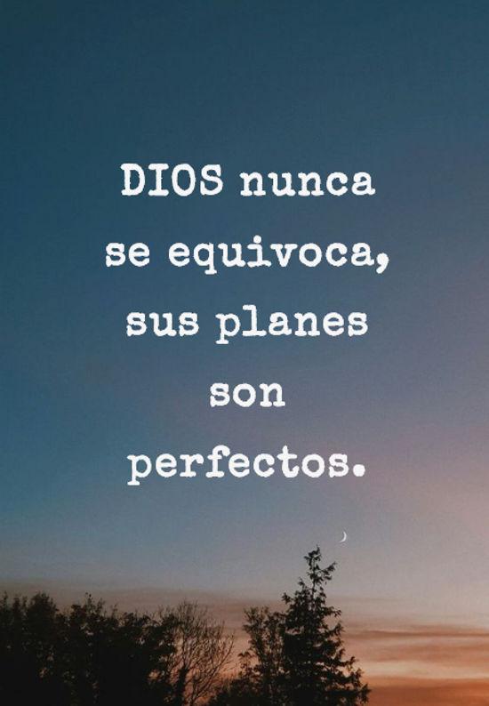 DIOS nunca se equivoca, sus planes son perfectos.