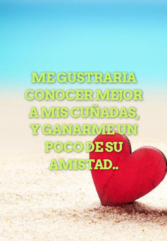 Frases de Amistad - ME GUSTRARIA CONOCER MEJOR A MIS CUÑADAS, Y GANARME UN POCO DE SU AMISTAD..