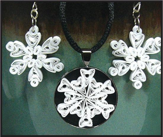 snowflake pendant and earrings