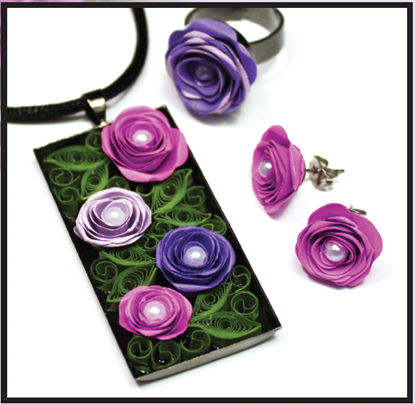 Quilled Rose Jewelry Set