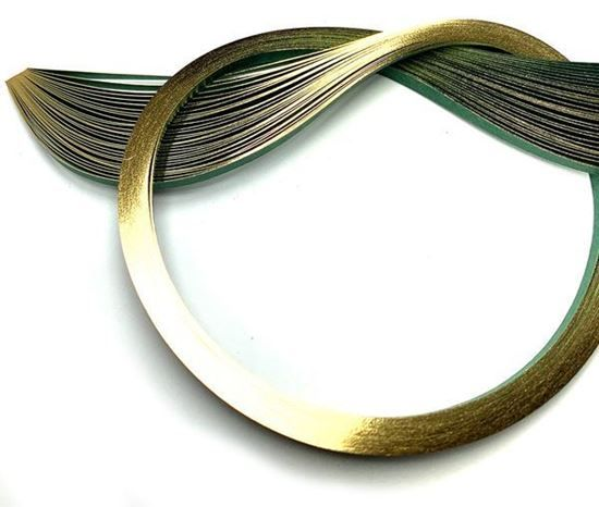 Gold Edging on Forest Green Quilling Paper