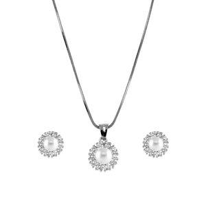 Amavi Sparkling Silver AD  & Pearl embellished Pendant & Earrings set for Women