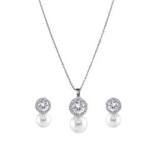 Amavi Dainty  Stone & Pearl Embellished Pendant & Drop Earrings Set For Women