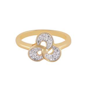 Amavi Gold AD  Embellished Flower Cut Ring For Women