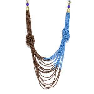 Blue And Black Sead Bead Necklace