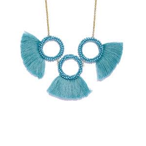 Blue Tassel Statement Necklace