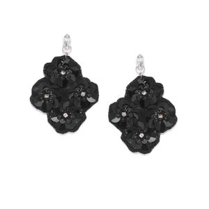 Black Sequin Statement Drop Earrings