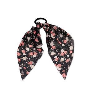 ToniQ Spring Bloom Black Floral Scarf Rubberband
