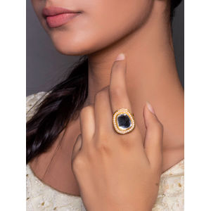 Ethnic Traditional Bold Stone And Baby Pearls Detailing Finger Ring  For women
